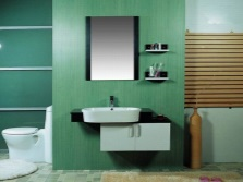Asymmetric Suspended cabinet with oval sink for the bathroom