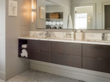 Suspension classic rectangular cabinet with two sinks for the bathroom