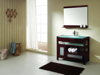 Floor cabinet for the bathroom with glass sink