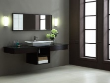 Hanging cabinet with integrated sink and worktop large bathroom