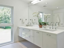 Hinged cabinet with sink in the bathroom in style hi -tech