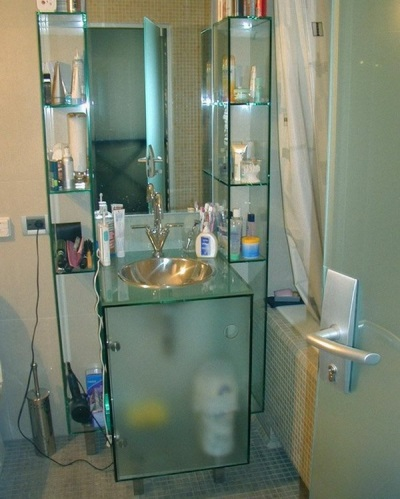 Glass cabinet , washbasin with built-in sink for the bathroom