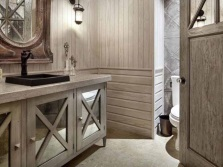 Cupboard made ​​of wood with a built-in sink for the bathroom