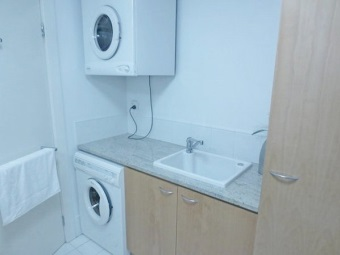 Simple cabinet with sink opening with a washing machine