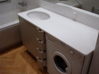 Stand with worktop made ​​of artificial stone from the sink top for the washing machine