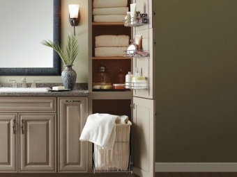 Floor cupboards bathroom with laundry basket