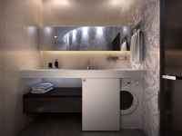 Built-in furniture in the bathroom for a washing machine