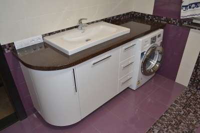 Disadvantages built furniture for a bathroom with washing machine