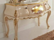 Tables for the bathroom with gold