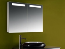 Mirror cabinet with lighting for bathrooms