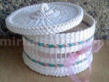 Beautiful laundry basket from newspaper tubes -dekor