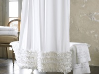 White fabric curtain for the bathroom