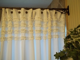 Fabric curtains for the bathroom hooks