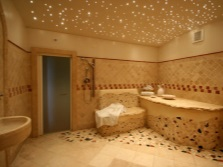 Built-in LED lights in the bathroom