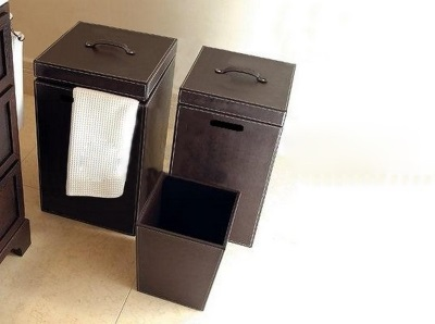 Leather laundry baskets for the bathroom