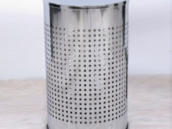 The metal laundry basket for bathroom