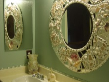 Decoration mirror in the bathroom with their hands
