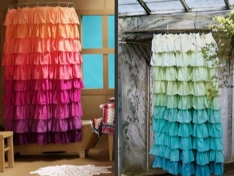 Curtain Bath with ruffles their own hands