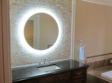 Forms of light mirrors in the bathroom