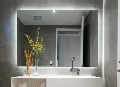 Dimensions mirrors illuminated bathroom
