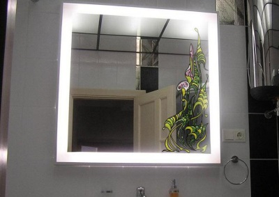 Installation of illuminated mirrors on bathroom wall