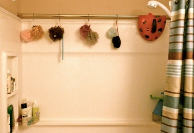 The second ledge for storing little things in the bathroom