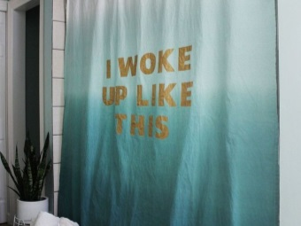 Cotton shower curtain in the tub painted