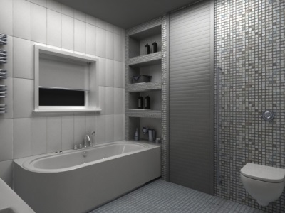 Built-in shelves in the bathroom