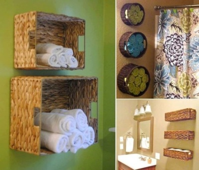 Wall shelves in the bathroom of the baskets