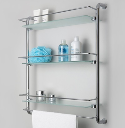 Shelf metal in bathroom