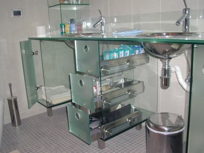 Glass shelves in interior bathroom