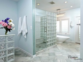 white bathroom with a partition of glass bricks