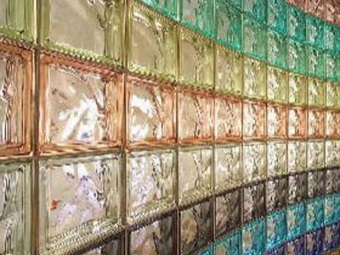 a wall of glass blocks of different colors
