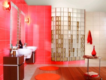the combination of opaque and transparent glass blocks for finishing bathroom