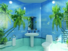 3D- tile walls with palm trees for bathroom