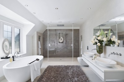 The interior of the bathroom , room with toilet in white and gray color scheme