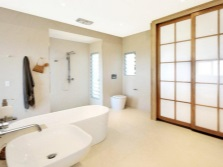 The interior of the spacious bathroom , room with WC
