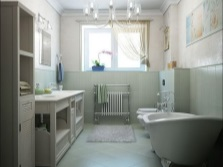 The interior of the bathroom , room with WC - bath in the legs , with the installation of a toilet bowl , a large dresser and a pencil case