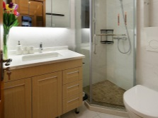 Spacious cabinet with a sink and a small shower in the interior of a small bathroom , room with WC