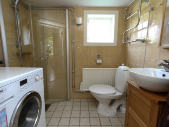 The interior of the bathroom , room with toilet can accommodate a shower, washing machine , cupboard under the sink and toilet