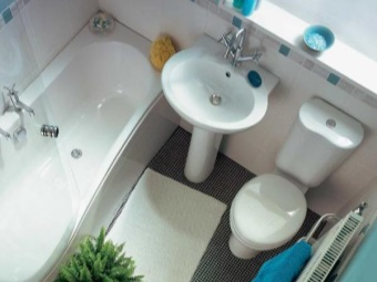 Correct placement of plumbing in the interior of a small bathroom , room with WC