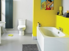 The interior of the bathroom , room with WC in yellow , white colors