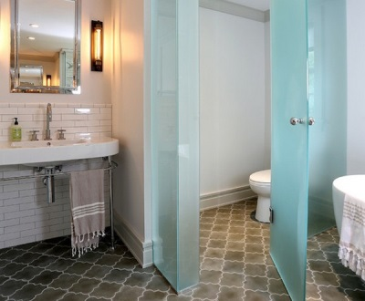 Glass partitions in the interior of the bathroom , room with WC