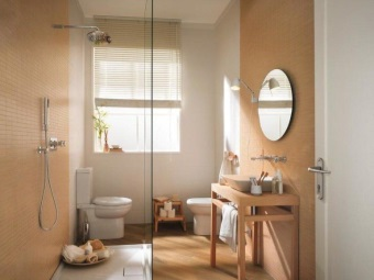 The interior of the bathroom , room with WC delimited shower standing in the center of