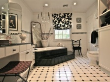 White-black interior of the bathroom , room with WC