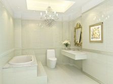 Ceiling lights and a chandelier in the interior of the bathroom , room with WC Nouveau