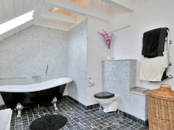 White - gray - black interior bathroom , room with WC