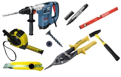 Tools for working with drywall and profile :