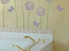Decorating the walls of the bathroom without a stencil painting