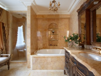 The chandelier in the bathroom brown Baroque
